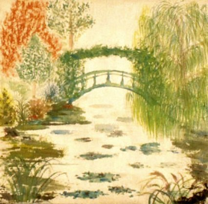 a la chinese painting of Monet footbridge