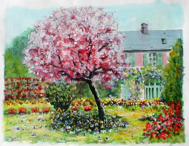 Le jardin de claude monet giverny acrylic andr tissot for Monet jardin giverny