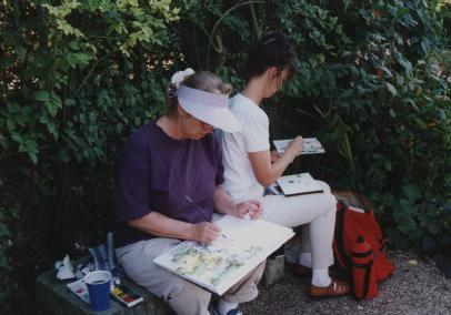 2 watercolorists in Monet's garden